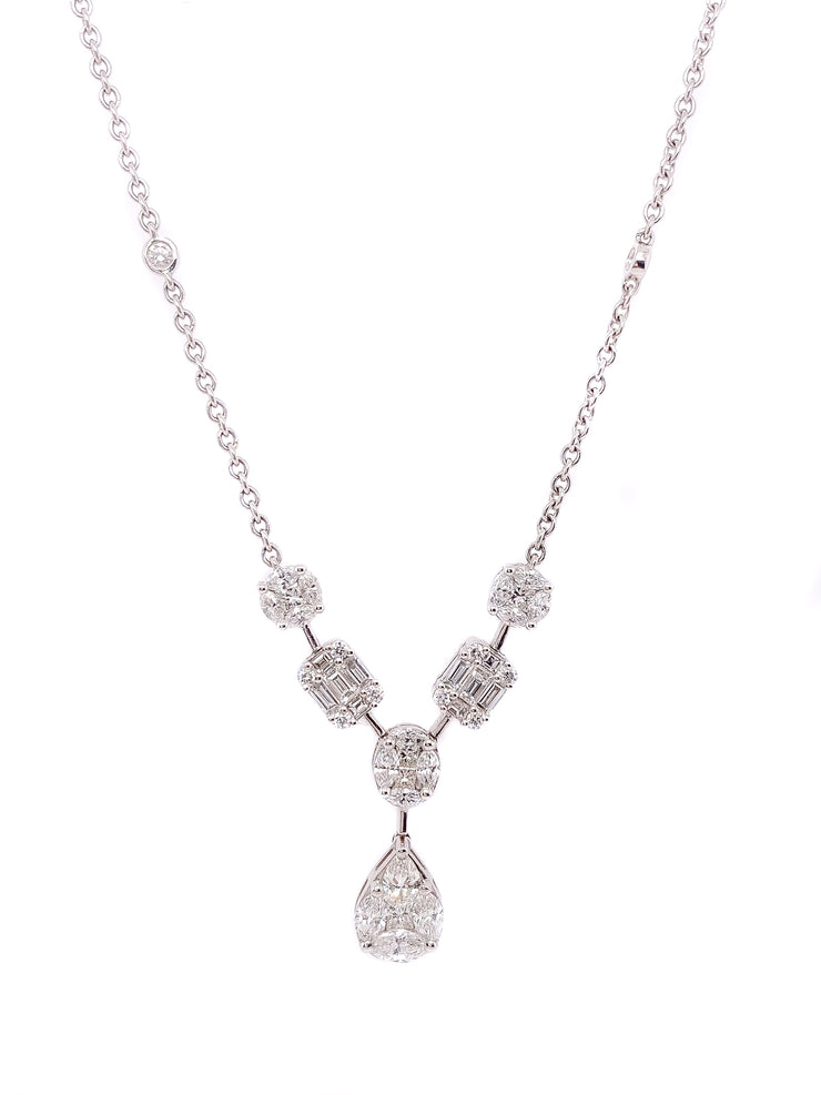 2.67ct 18k White Gold multi shape illusion set necklace with pear drop