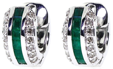 14k White Gold Diamond & Emerald Huggies