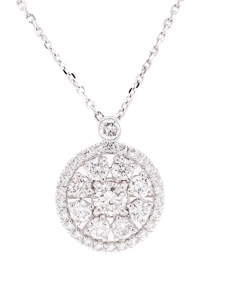2.65ct 14k White Gold round pendant