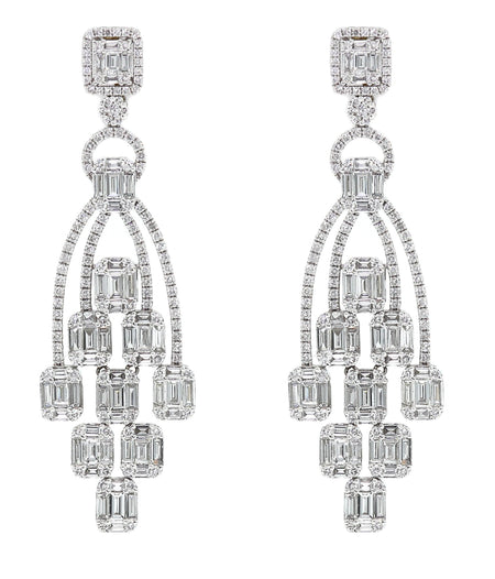 6.50ct 18k Gold Art Deco Chandelier Earrings