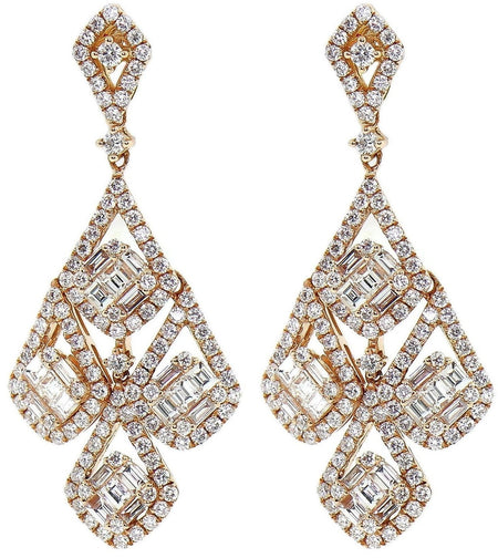 5.00ct 18k Rose Gold Chandelier Earrings