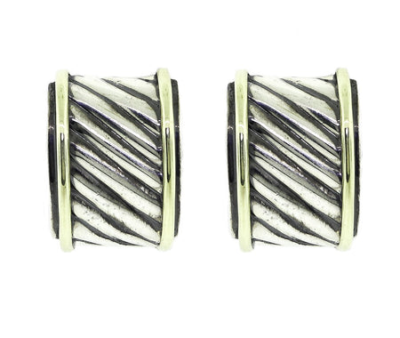David Yurman Sterling Silver & Gold Earrings