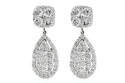 18k White Gold 3.80ct Earrings