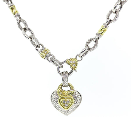 Judith Ripka Sterling Silver & 18k Gold Heart Necklace