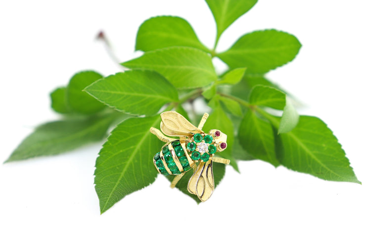 18k Yellow Gold Diamond, Emerald & Ruby Bumblebee Brooch