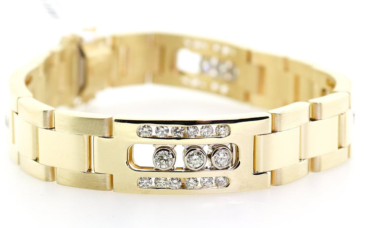 14k Yellow Gold Mens Bracelet With 3.50cts of Diamonds