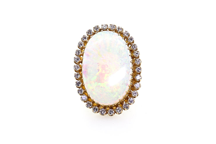 14k Yellow Gold Opal Ring With 1.50cts of Diamonds