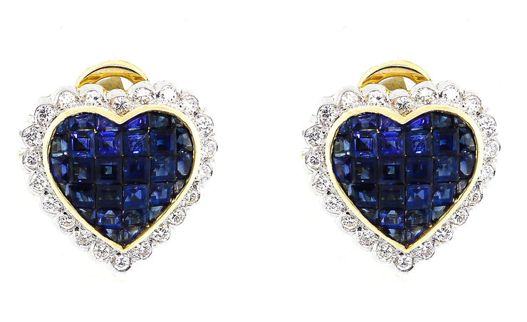 Sapphire & Diamond Heart Shaped 18k Gold Earrings