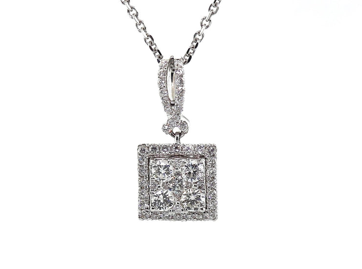 18k White Gold .80ct Square Diamond Pendant