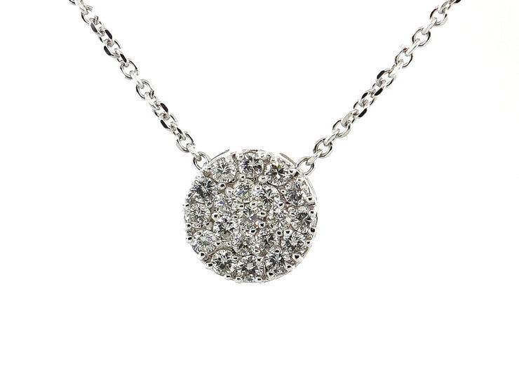 .70ct 18k White Gold Diamond Disc Pendant