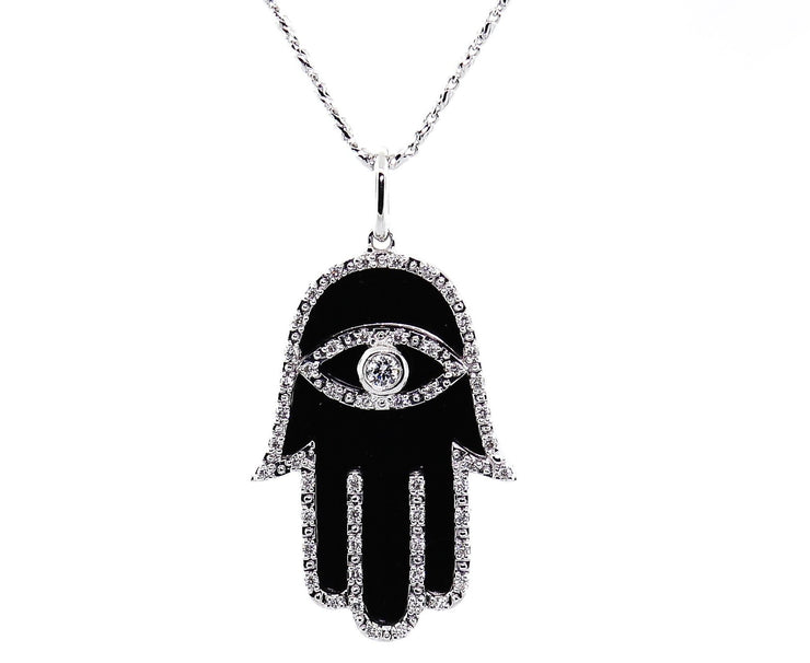 White Gold & Diamond Enamel Hamsa Pendant