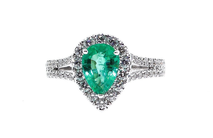 1.33Ct Emerald Pear Shaped Cocktail Ring