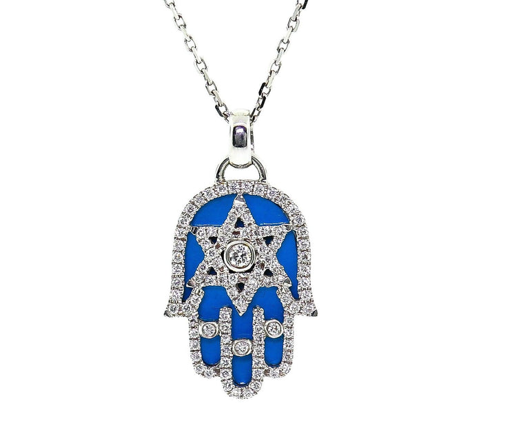 18k White Gold Hand of God .50ct With Blue Enamel