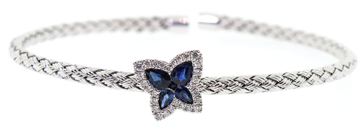 14k White Gold Diamond & Sapphire Bangle