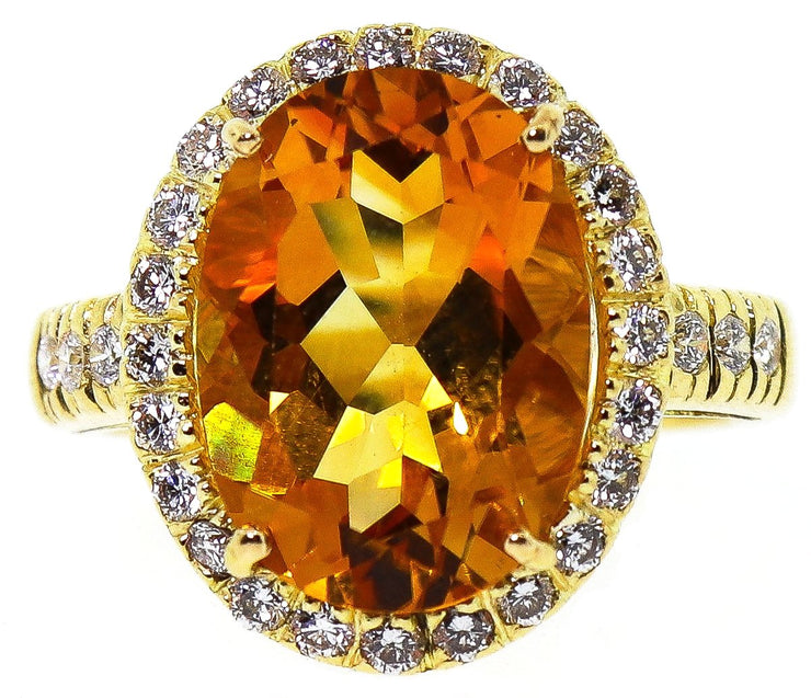 Italian 18k Yellow Gold Citrine ring with .75ct dimonds