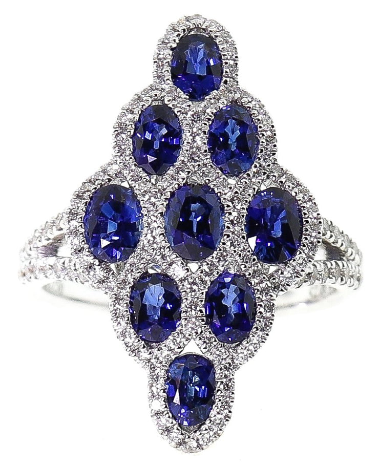 18k White Gold Sapphire & Diamond Cocktail Ring