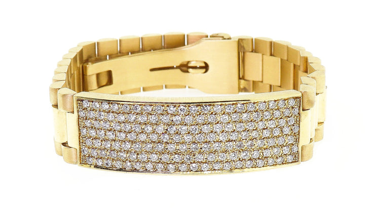 18k Yellow Gold Men's President Style Bracelet with 3.00ct of Diamonds