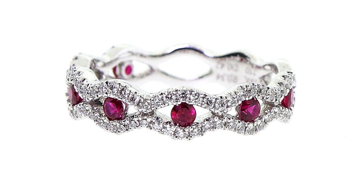 18k White Gold Ruby & Diamond Band