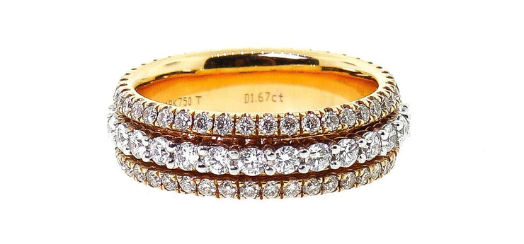 18k Yellow Gold 1.80ct 3 Row Eternity Band