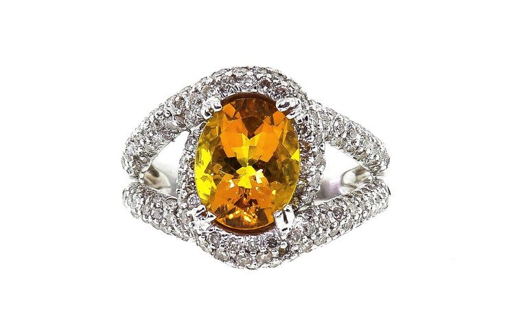 14k White Gold Citrine Ring With 1.85ct Diamonds