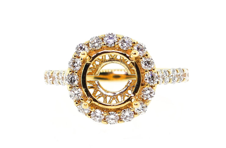 18k Yellow Gold 1.10ct Round halo Setting