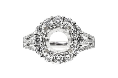 18k White Gold 1.50ct round split Shank Setting