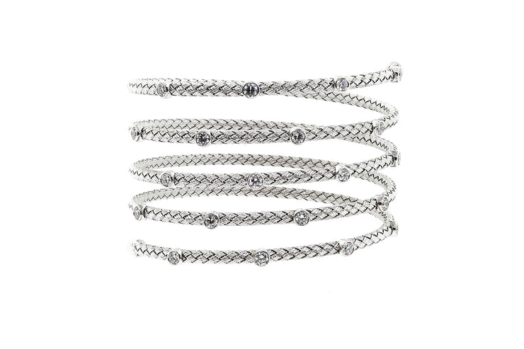 14k White Gold Flexible wrap around bangle with 2.00cts of diamonds