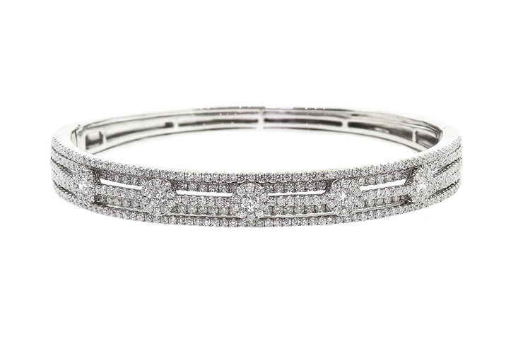 14k White Gold Cluster design bangle with 3.66ct of Diamonds
