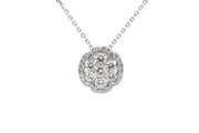 1.10ct 18k White Gold cluster design pendant with halo surrounding