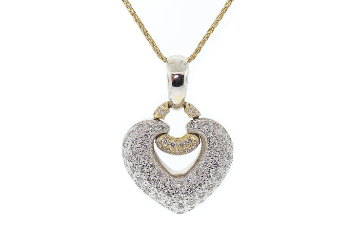 18k two tone (White & Yellow gold) Heart shaped pendant