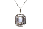 14k White Gold 1.60ct Sapphire pendant with 1.10ct of Diamonds