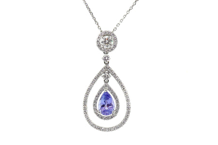 1.50ct Tanzanite pear shaped pendant with 1.40ct of Diamonds