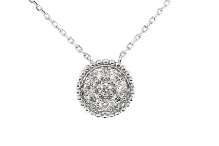.90ct 14k White Gold round cluster design pendant