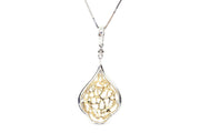 2.00ct 18k two tone white and yellow diamond pendant