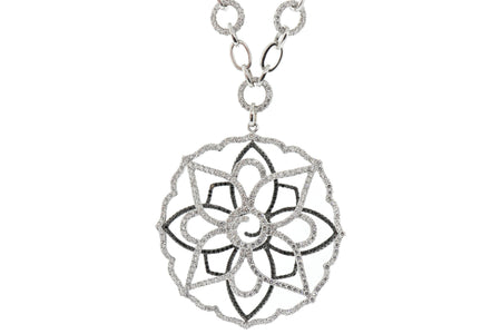 5.00ct Black & White diamond Flower pendant