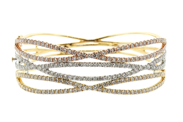 14k Tri-color gold bangle with 6.35cts of Diamonds