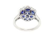 18k gold 2.06cts Sapphire and 0.50cts Diamond Flower design Cocktail Ring
