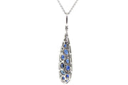 18k White Gold drop style pendant with 4.80cts Sapphire & 1.00cts of Diamonds