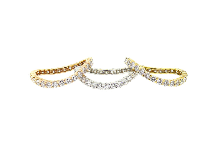 18k 3.55ct T.W ring stackable white,yellow & rose gold bands