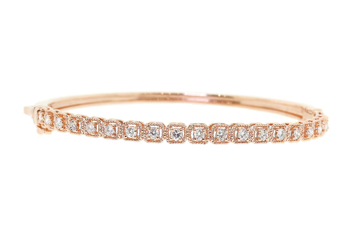 1.25ct 14k rose gold Art Deco design bangle