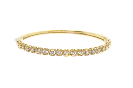 1.25ct 14k Yellow gold Art Deco design bangle