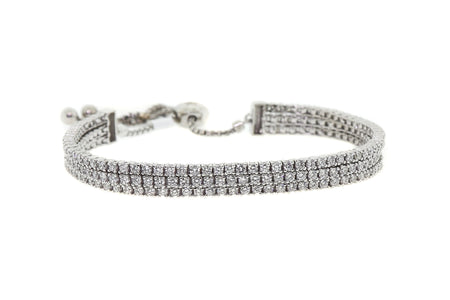 3.75ct 14k White Gold 3 strand adjustable tennis style bracelet