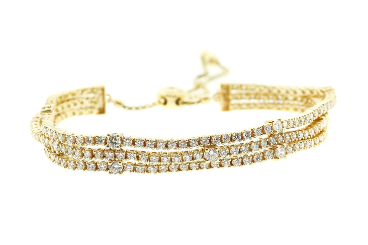 4.00ct 14k Yellow Gold 3 strand adjustable tennis style bracelet
