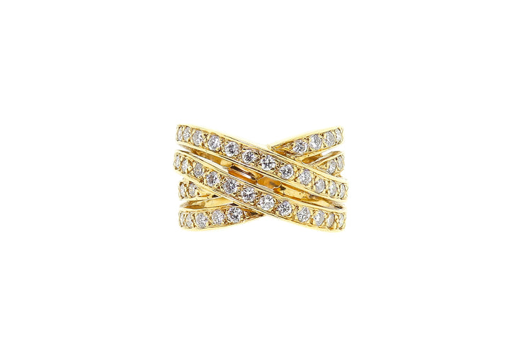 1.00ct 14k Yellow Gold crossover design cocktail ring