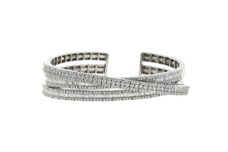 4.75ct 18k White Gold 3 row modern design bangle