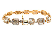 7.80ct 18k Rose Gold illusion set bracelet with baguette & round diamonds