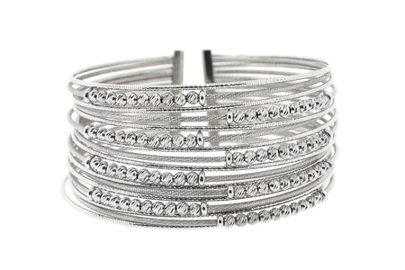 18k White Gold diamond cut style 56.7gram bangle