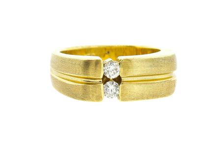 14k Yellow Gold two stone .35ct men's Wedding band