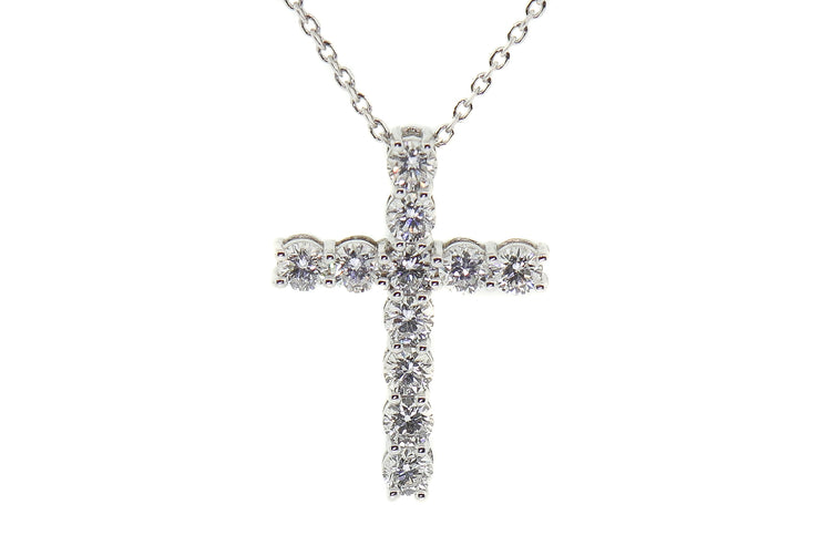 14k White Gold 1.20ct diamond cross