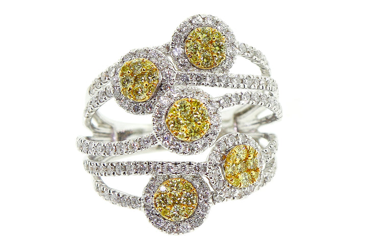 2.10ct 18k White Gold cocktail ring with White & Yellow diamonds